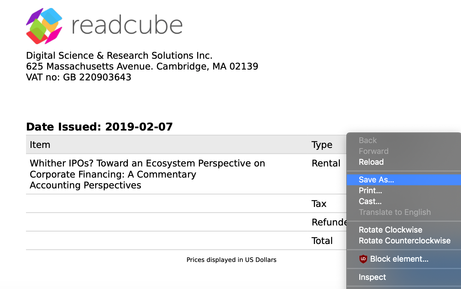 Screenshot how to save invoice from a purchased made through ReadCube Checkout