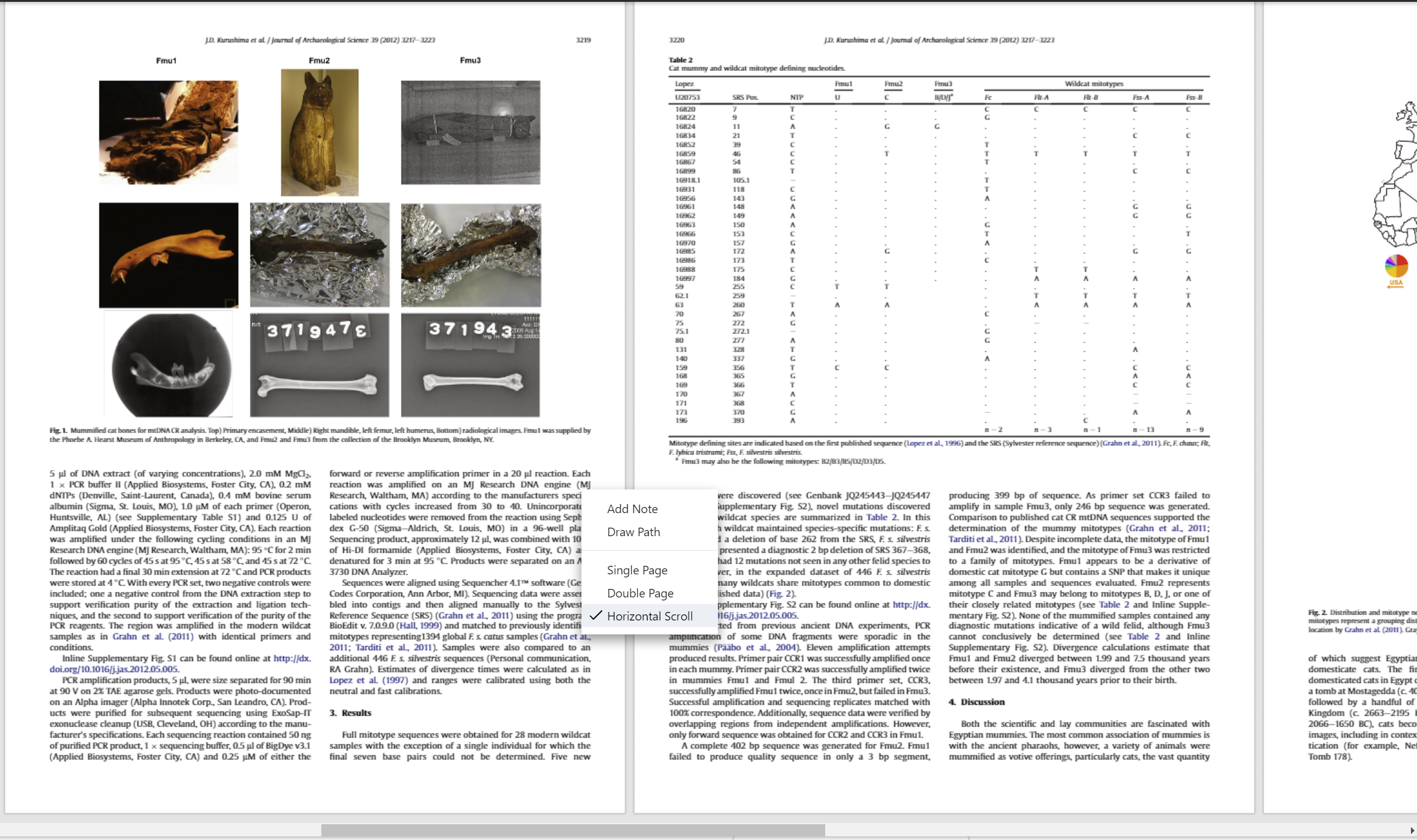 Horizontal scroll in ReadCube Papers Enhanced PDF