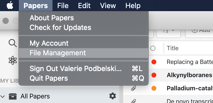 File Management in ReadCube Papers macOS desktop version