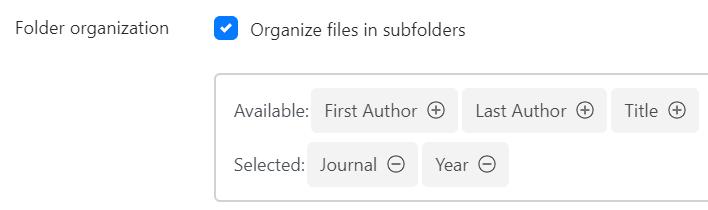 Folder Organization setting