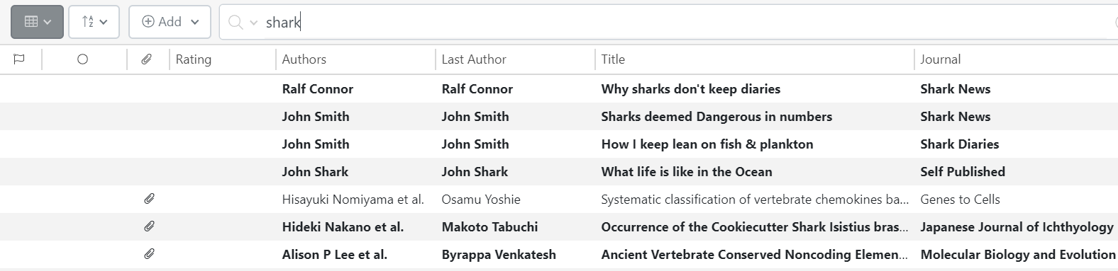Screenshot of advance searching personal library in ReadCube Papers