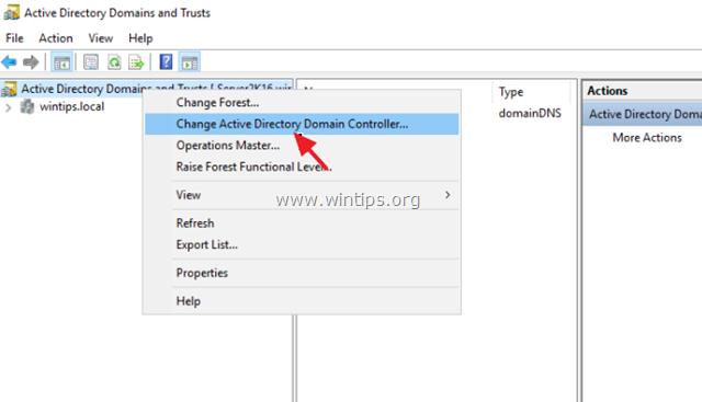 Cambiar el servidor del controlador de dominio de Active Directory 2016