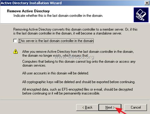 eliminar servicios de directorio activo del servidor 2003