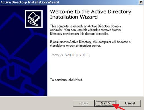 degradar el servidor 2003 desde el controlador de dominio