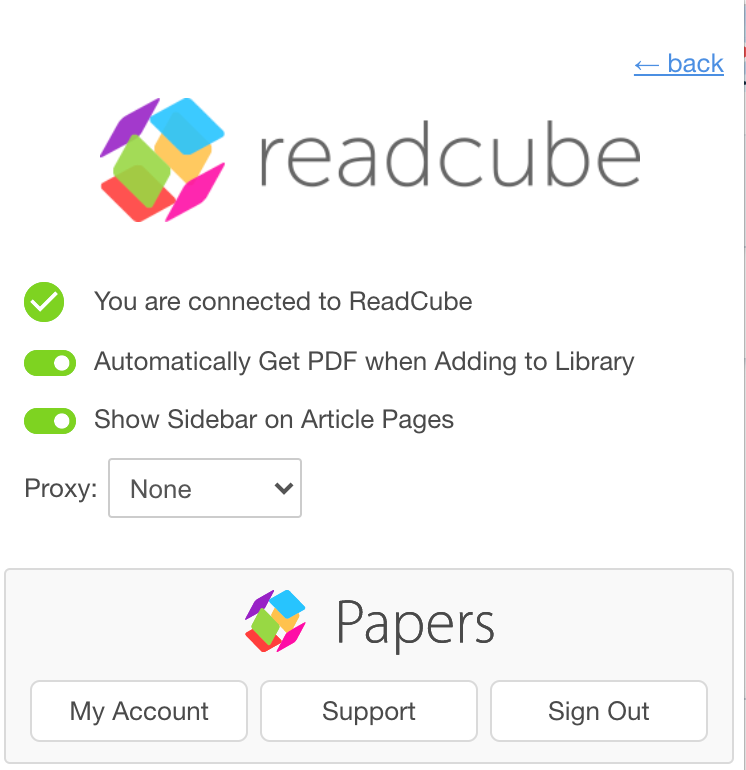 ReadCube Papers Browser extension settings page