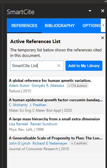 SmartCite Add To List