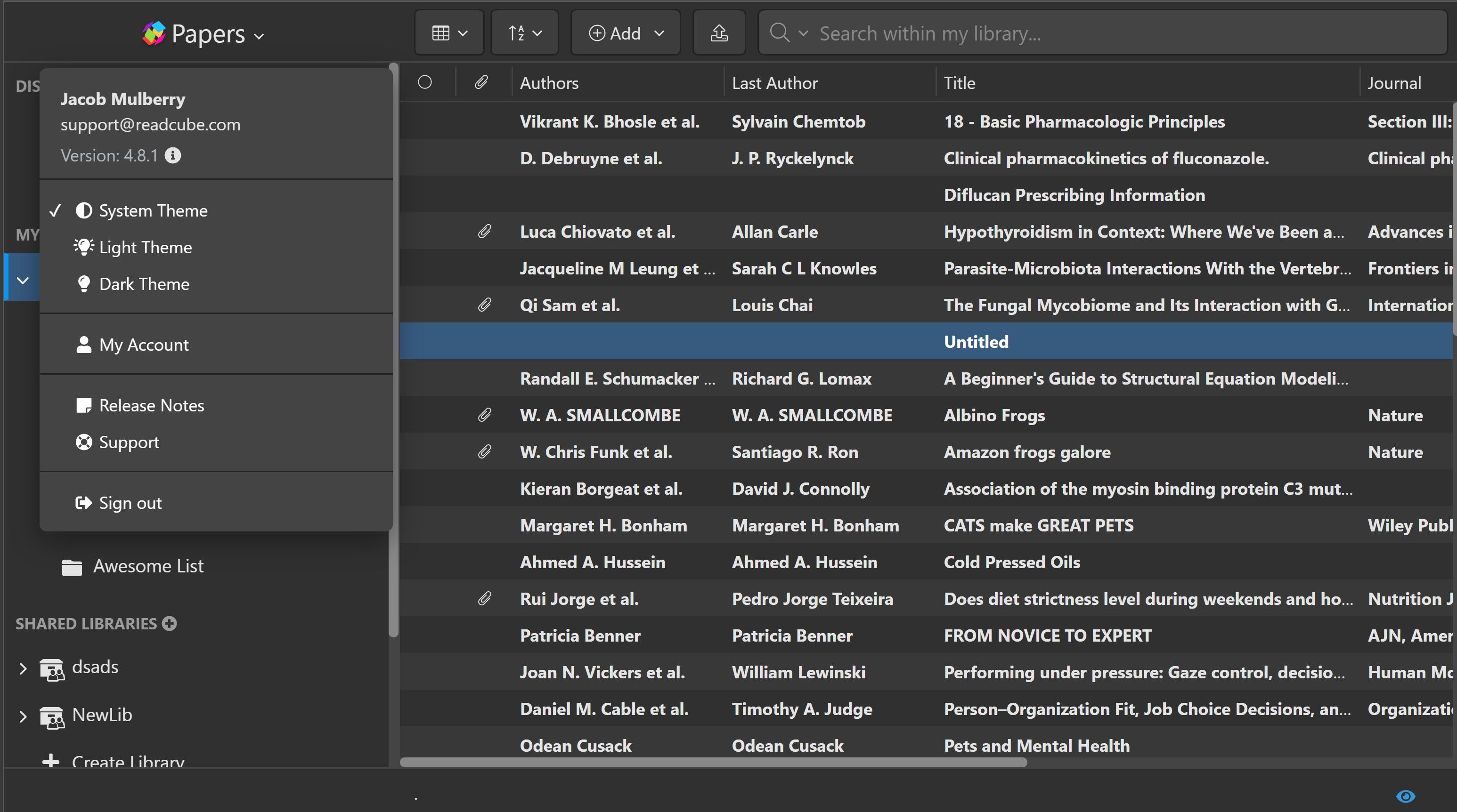 Dark Mode Papers Desktop