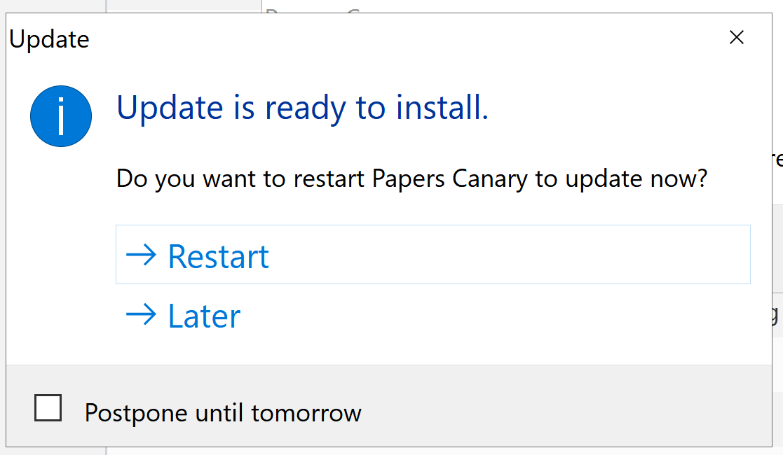 Postpone Update Screen