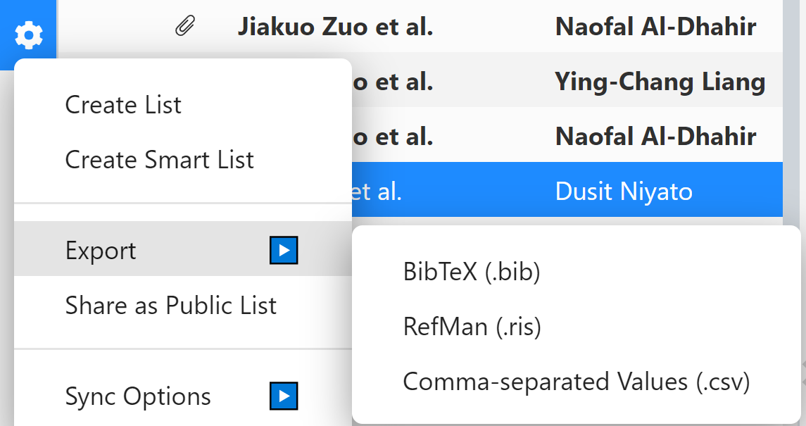Library Export RIS