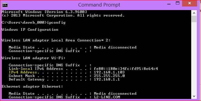 How to get server ip address using cmd