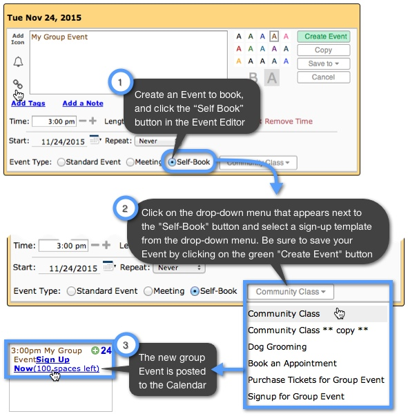 How can I add SelfBooking to my CalendarEvents – Sign Up Calendar Template