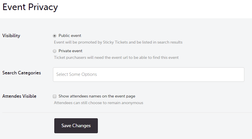 making your events searchable or private customer support centre