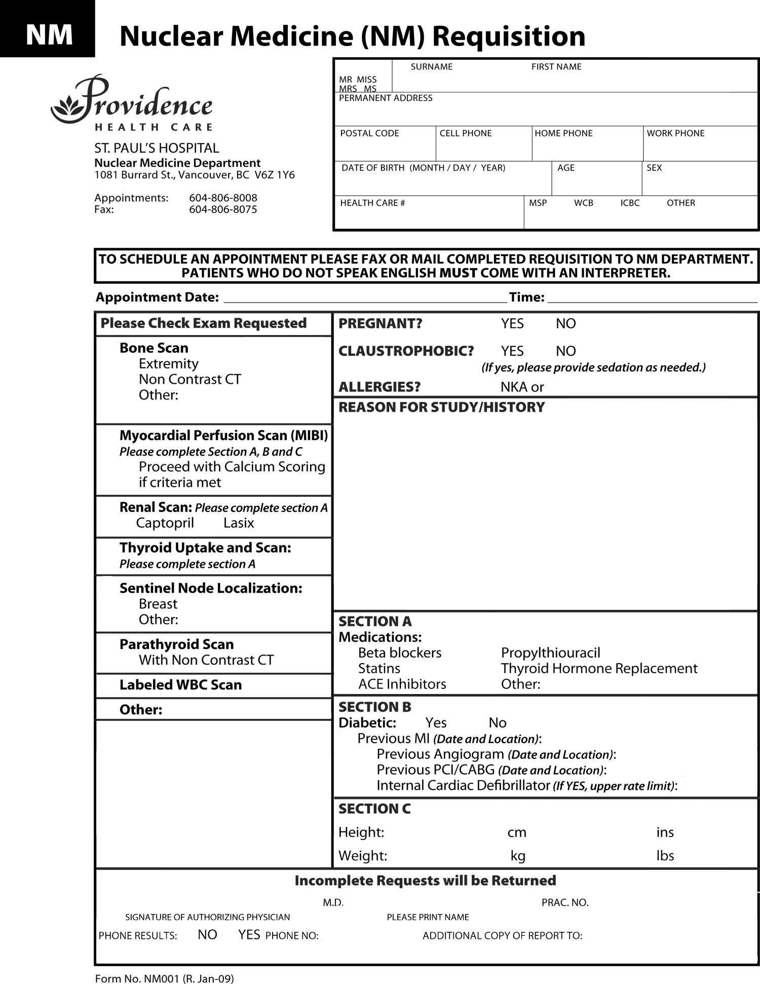 Providence Health Care Nuclear Medicine Nm Requisition