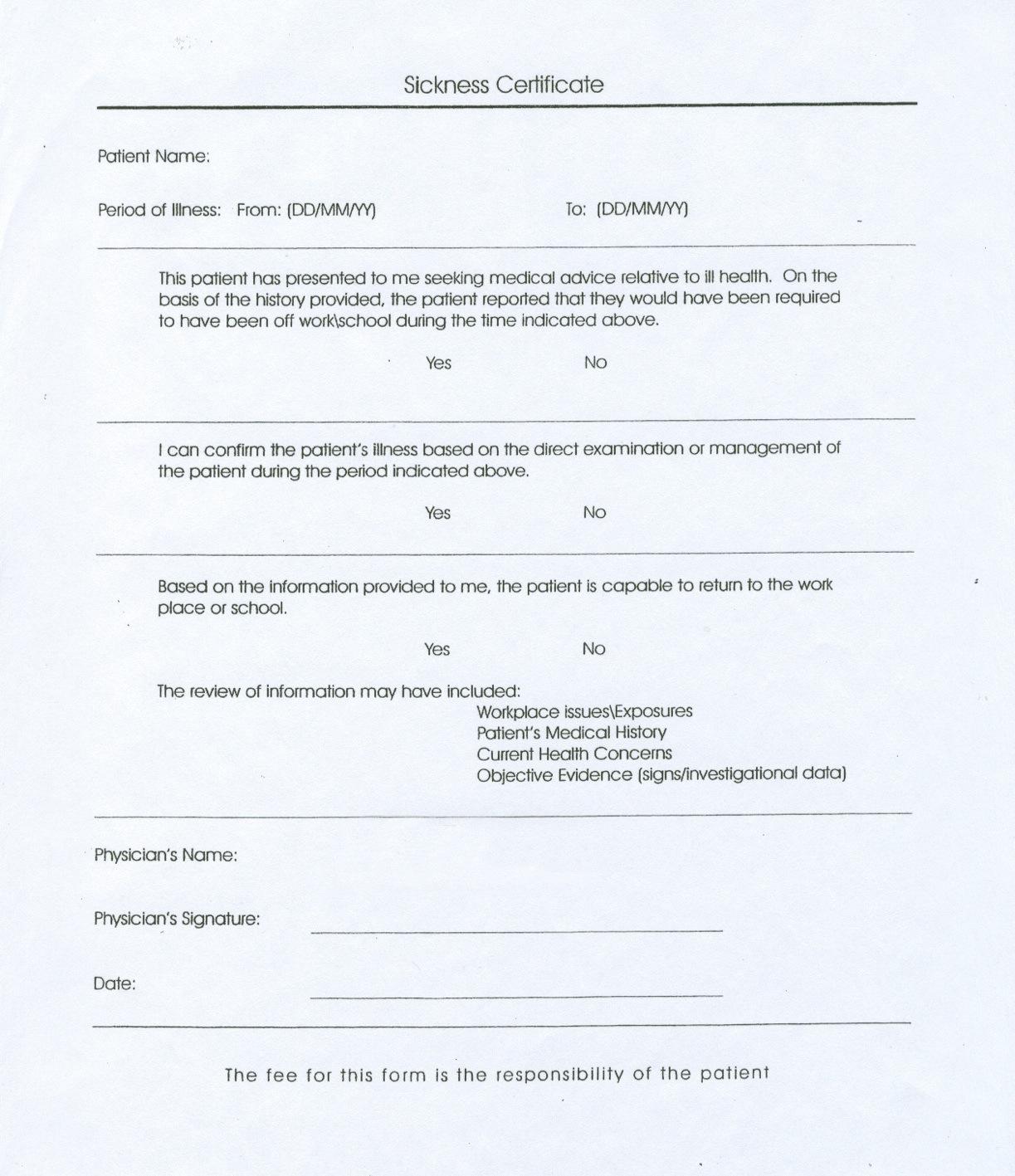 Medical Certificate Of Sickness Zrom