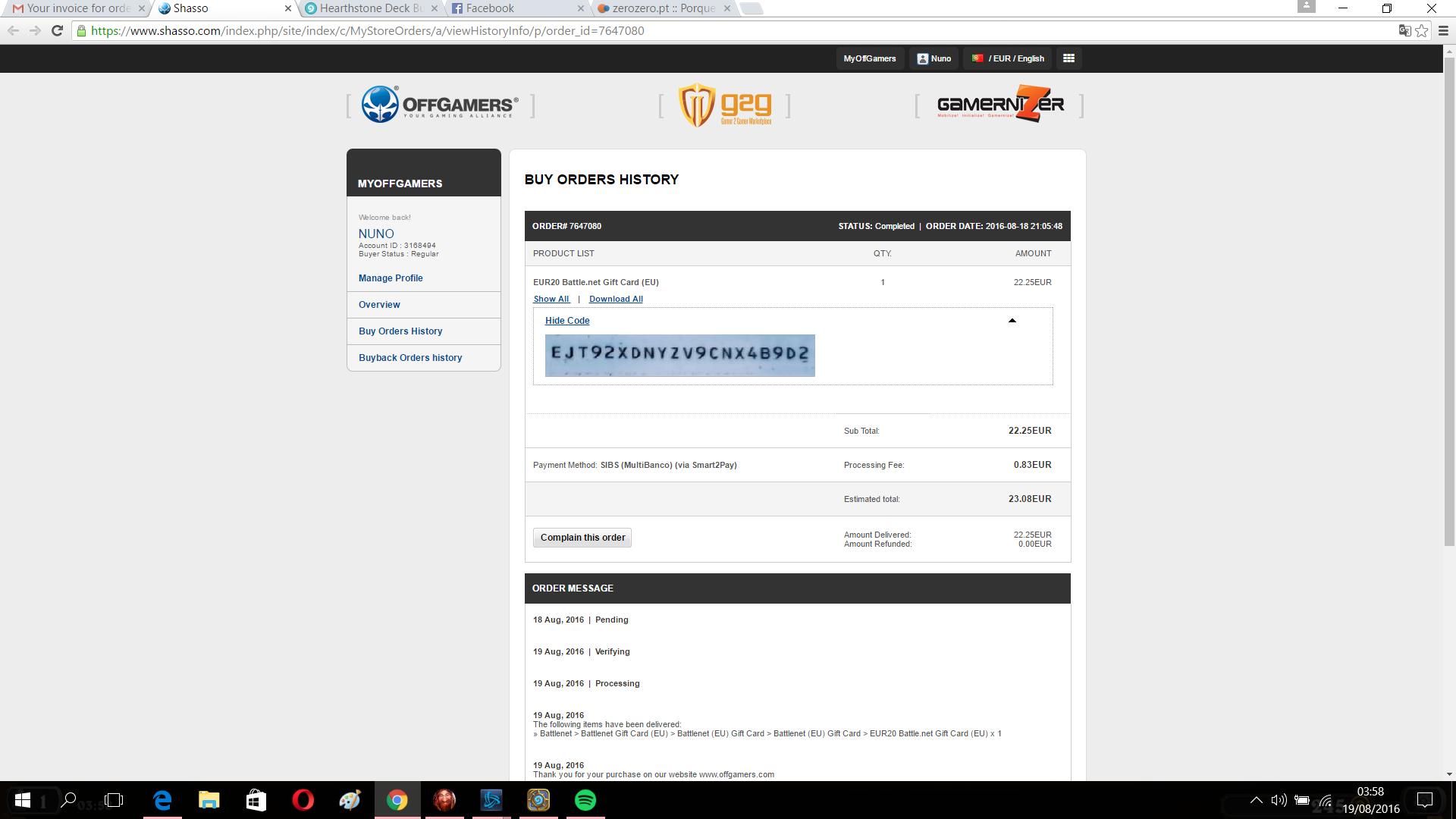 Battle.net code scam : OffGamers Support Center
