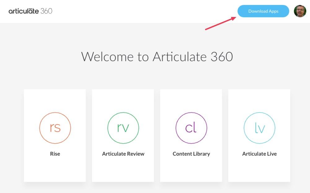 Willkommens Portal von Articulate 360