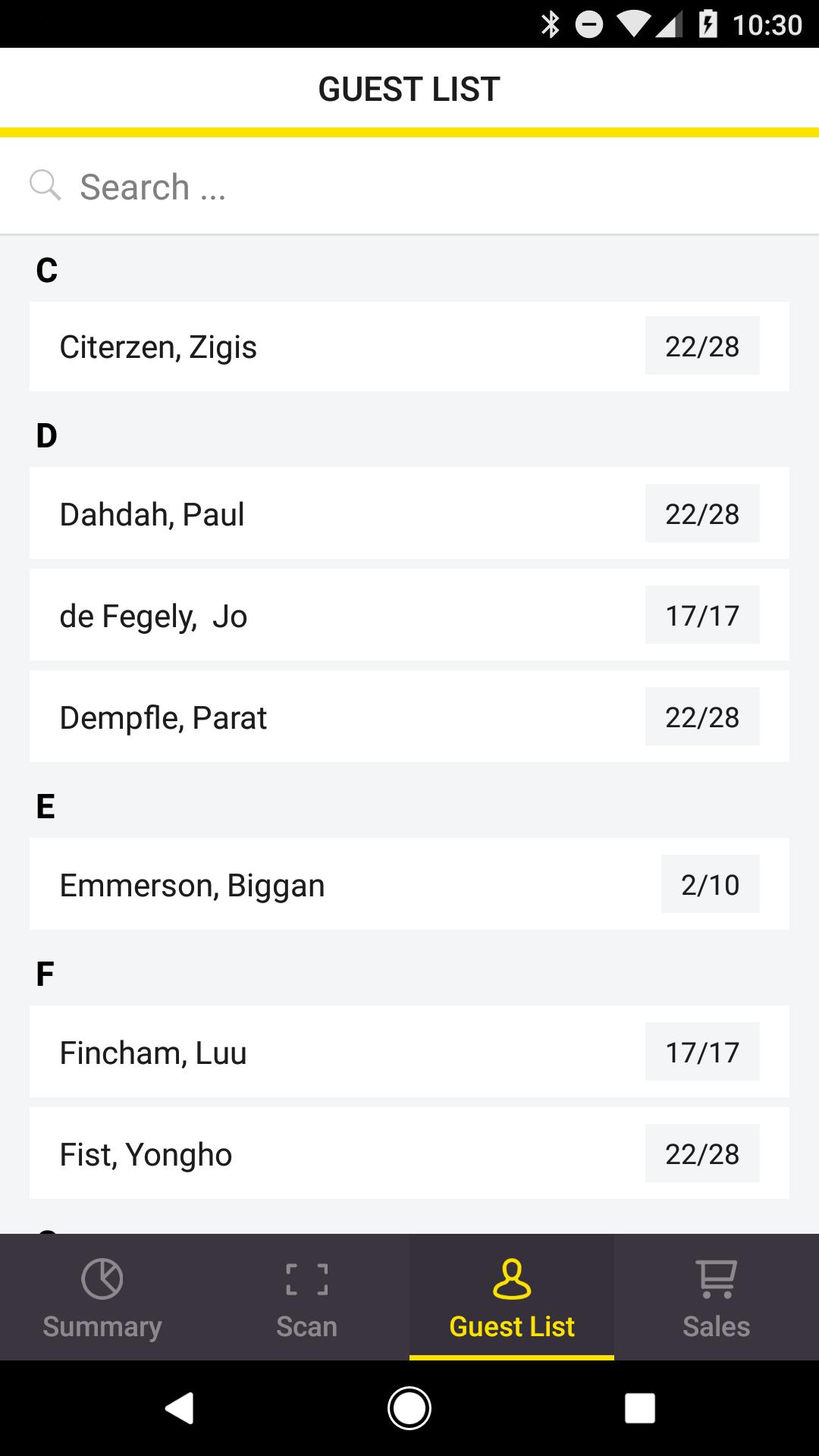 App Guest list screen