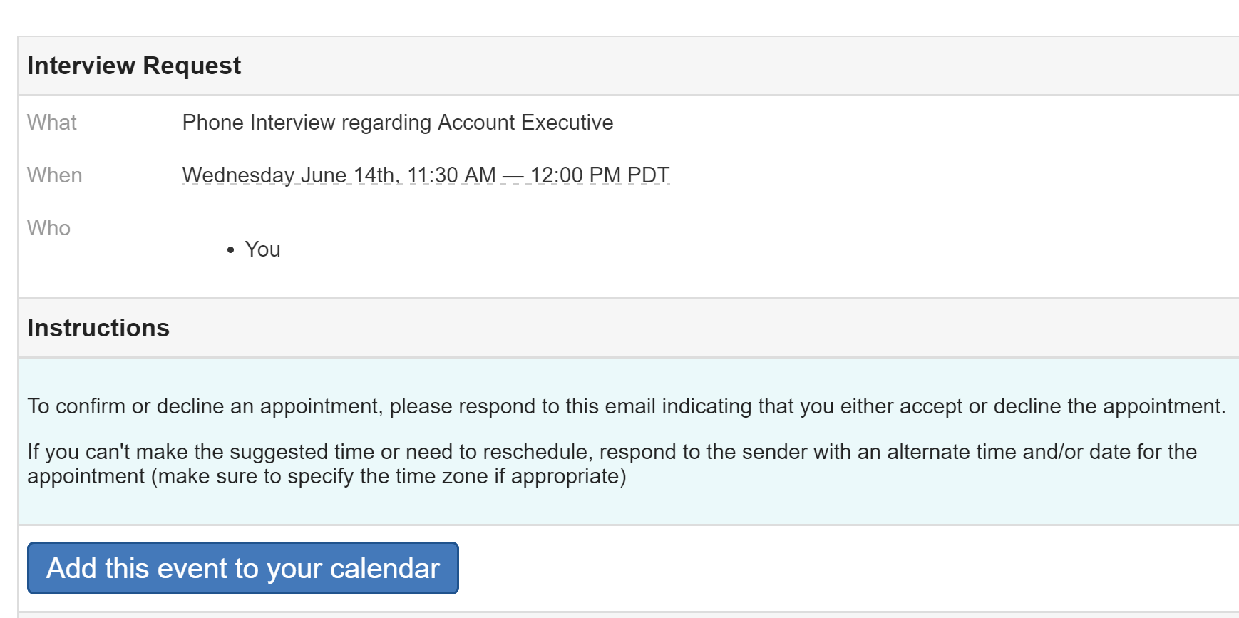 Send A Meeting Request To An Applicant HiringThing Support
