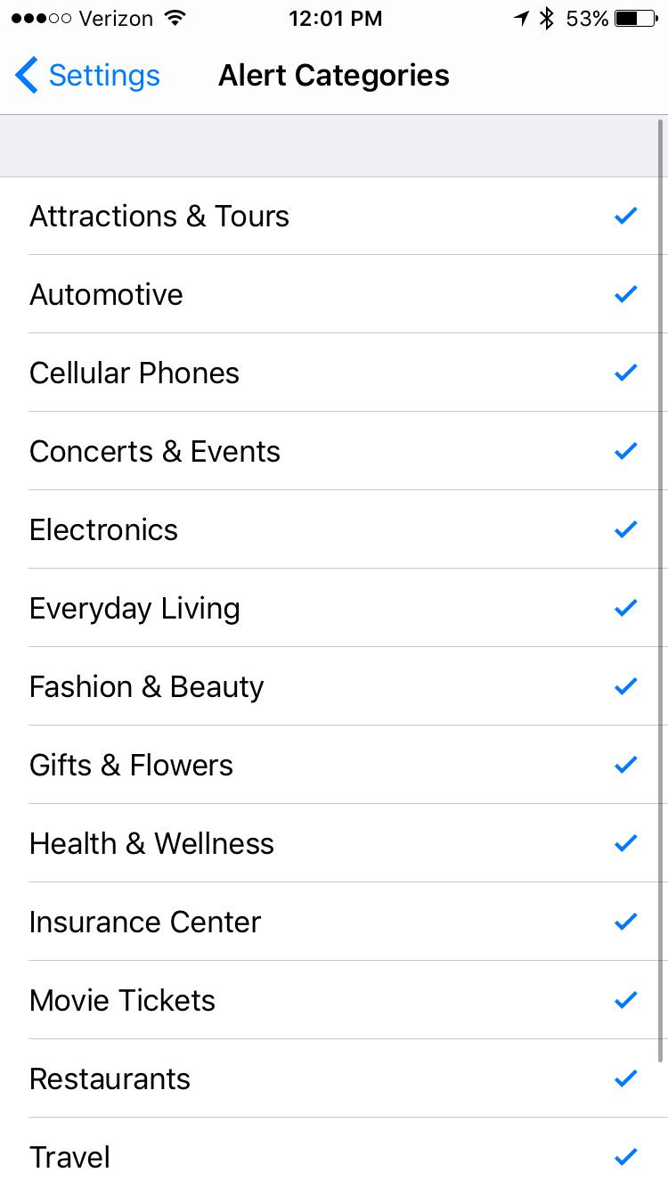 Manage your Perk Alert Categories
