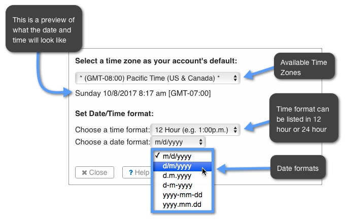 How do I set the time and date formats for my Calendar? | Keep&Share