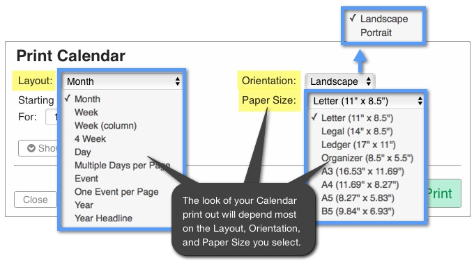 What Are My Options For Calendar Print Layouts Support Portal