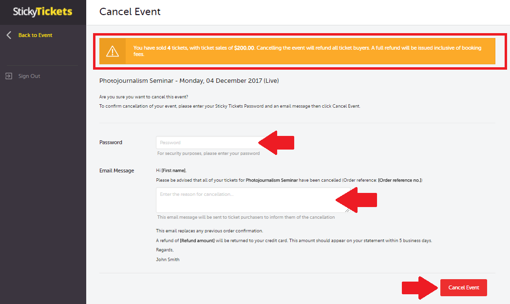How can I cancel my event and issue refunds? : Customer
