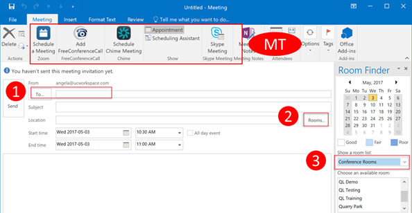 How do I book a meeting in Outlook / Exchange? : Quicklaunch