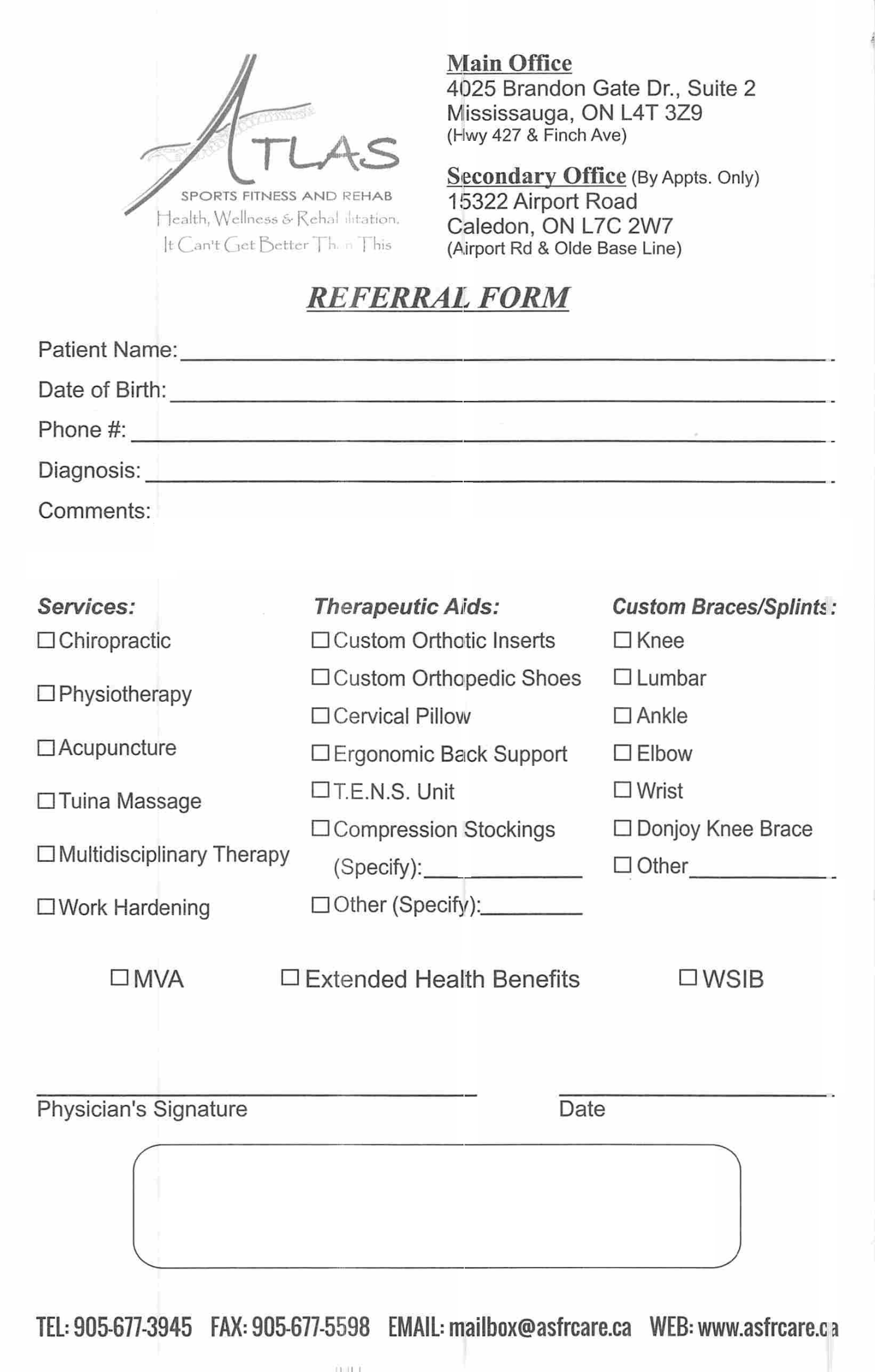 atlas sports fitness and rehab referral form - Referral Form