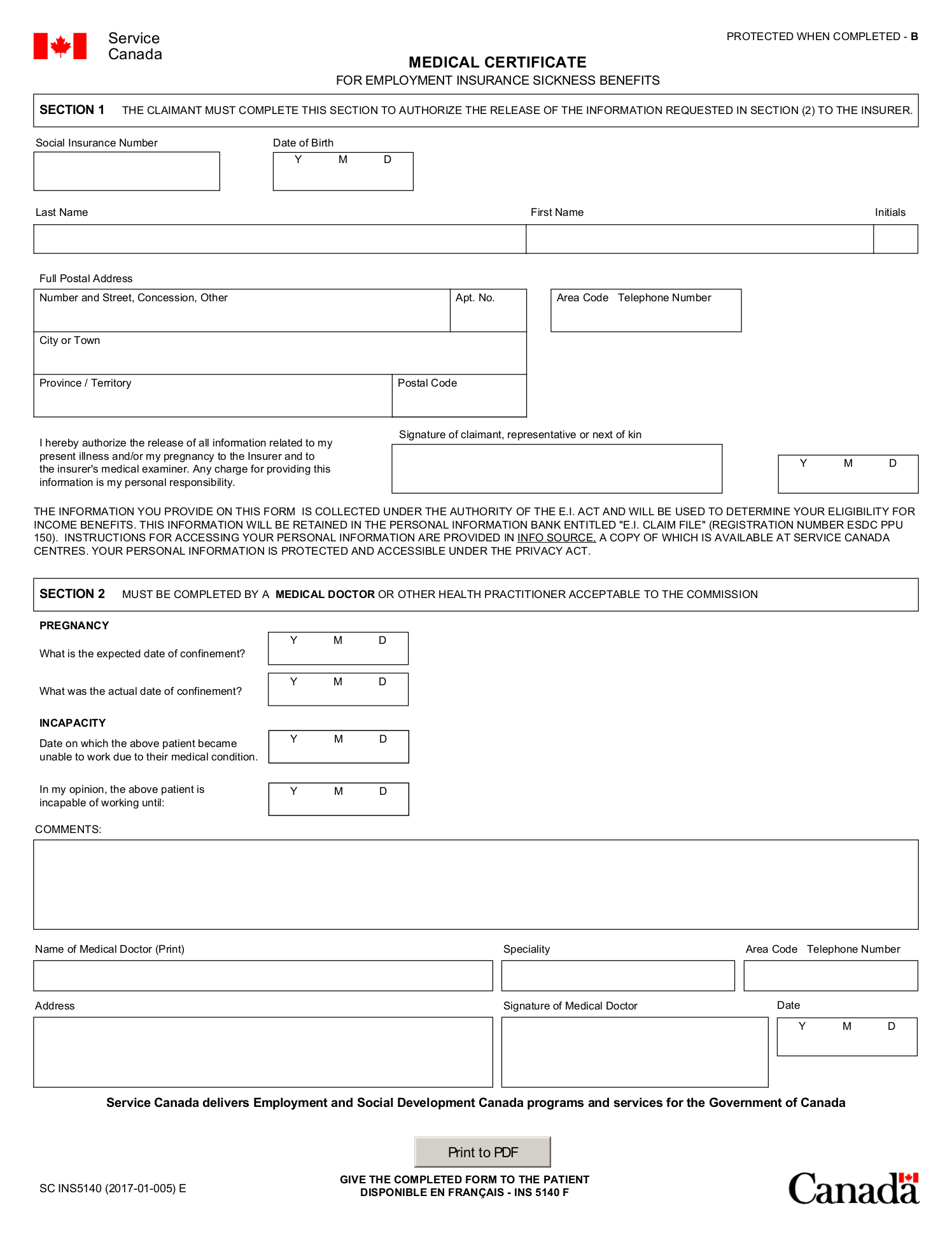 Service Canada Medical Certificate For Employment Insurance Sickness Benefits Juno Emr Support Portal
