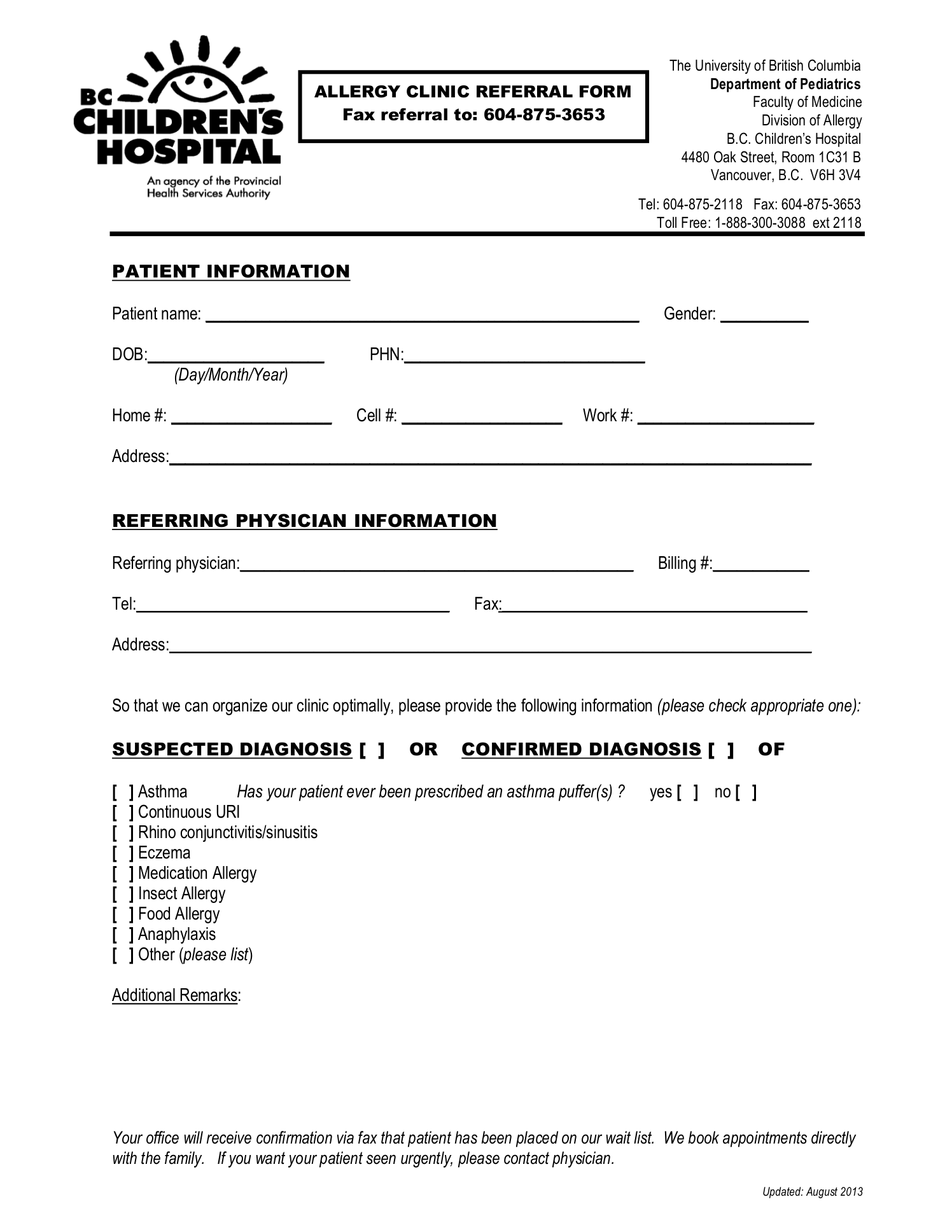bc childrens hospital allergy clinic referral form - Referral Form