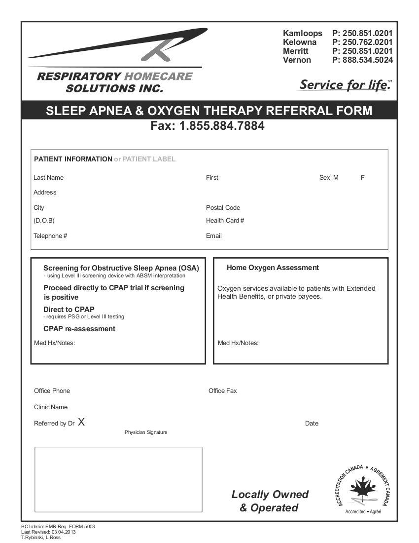 Respiratory Homecare Solutions Inc  Sleep Apnea & Oxygen Therapy