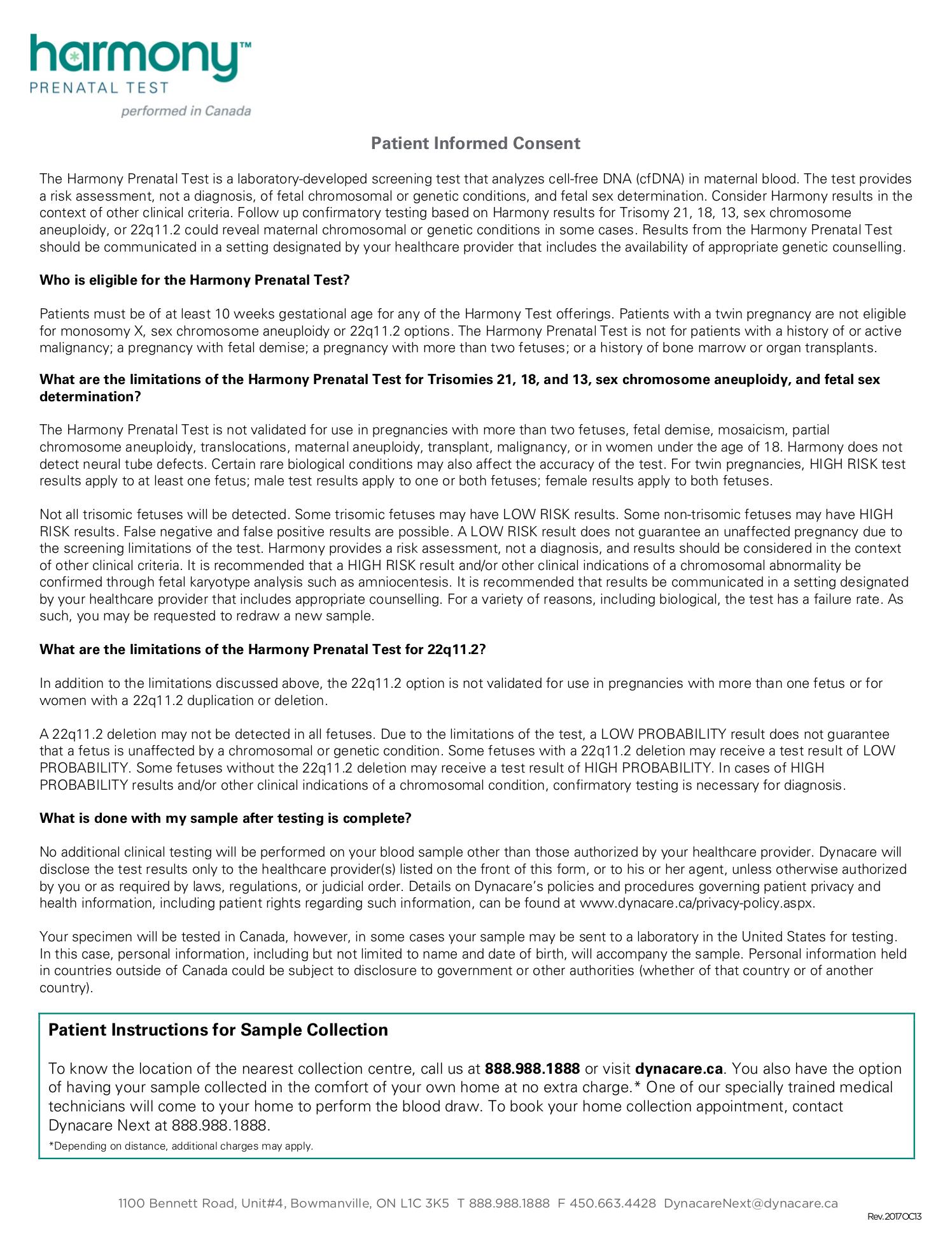 Dynacare® Harmony™ Prenatal Test Requisition : Juno EMR