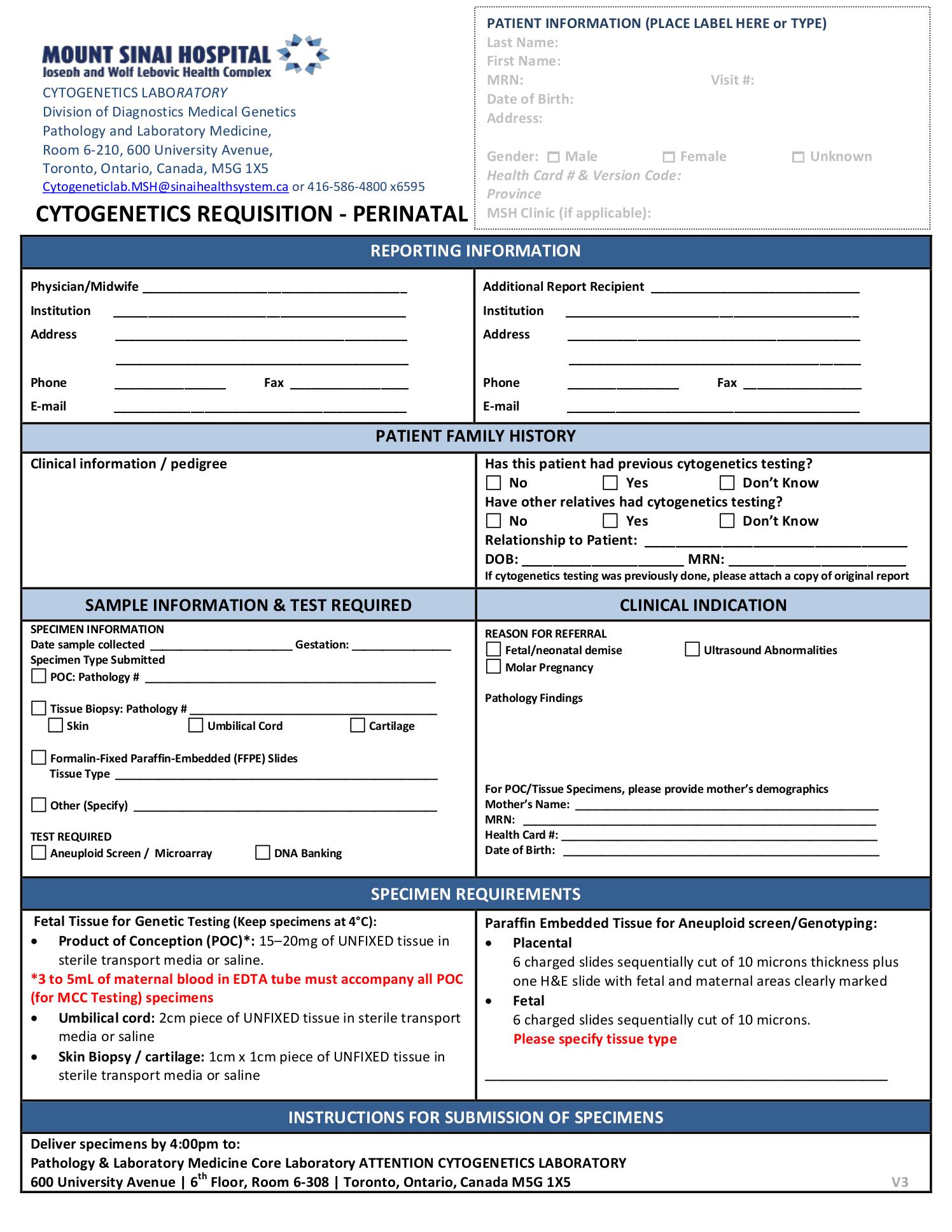 Mount Sinai Hospital Cytogenetics Requisition - Perinatal