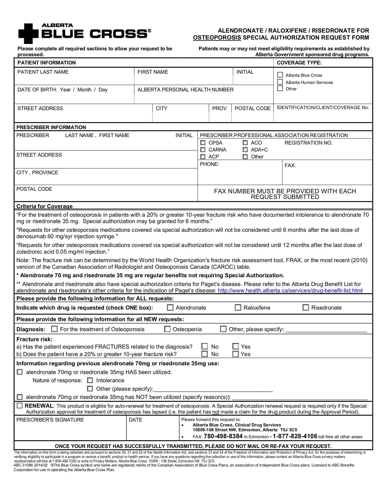 Authorization Request Form | Alberta Blue Cross Alendronate Raloxifene Risedronate For