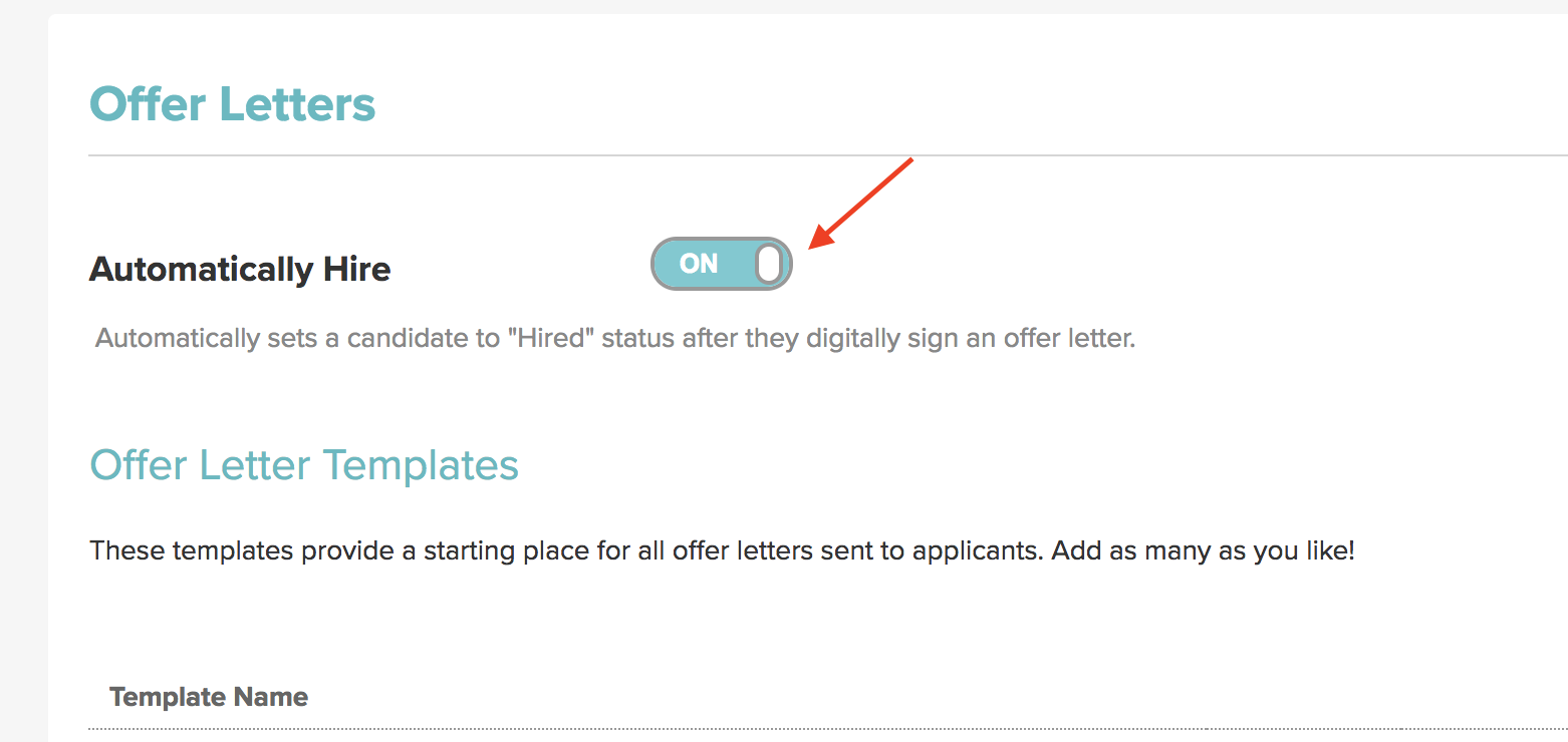 to choose this option go to account details and revisit your offer letter page under the templates section at the top of that page