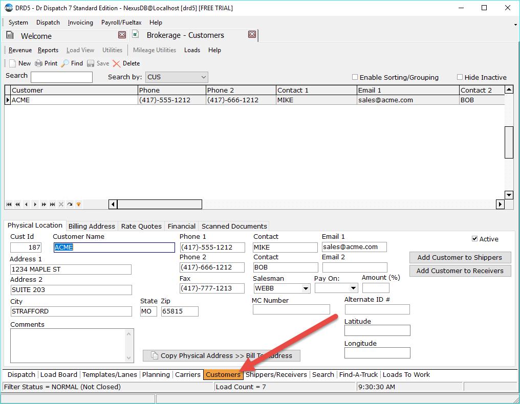 Adding A Customer In Brokerage Dispatch Dr Dispatch