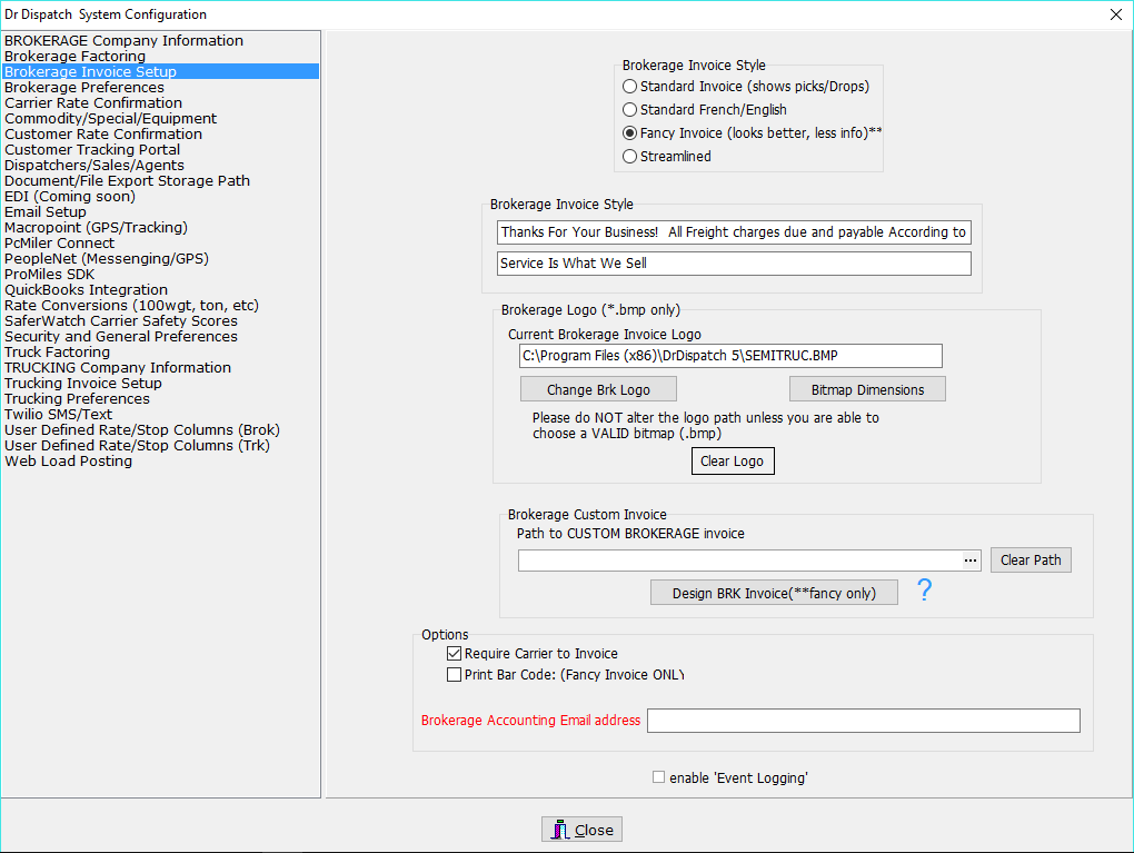 brokerage invoice setup dr dispatch