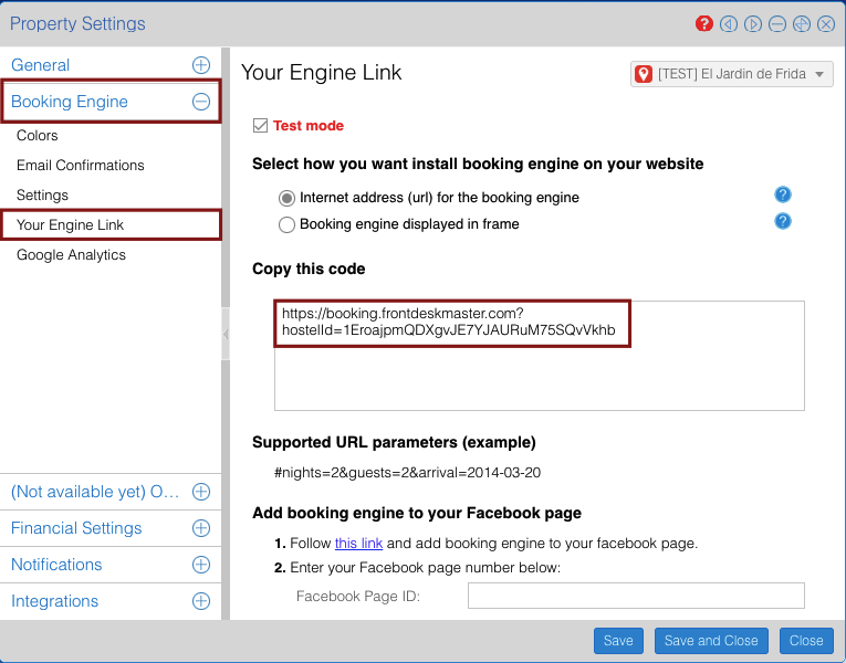 Adding booking engine to Facebook page : FrontDesk Master