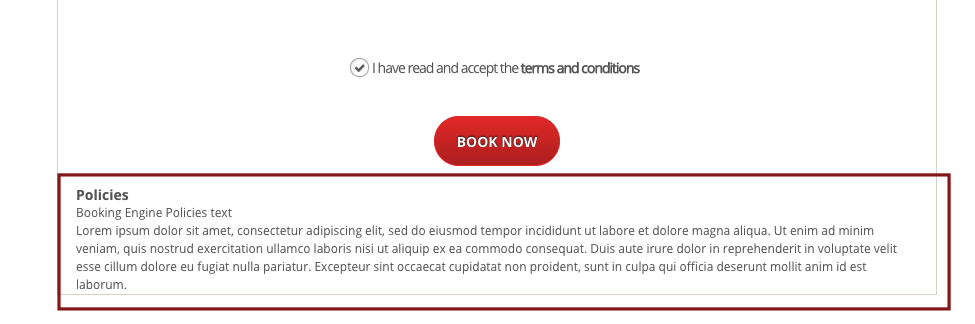 Terms & Conditions and Policies in Booking Engine : FrontDesk Master