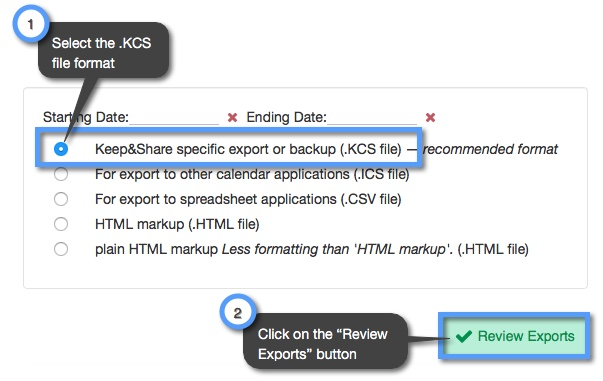 How do I export calendars from my account? | Keep&Share