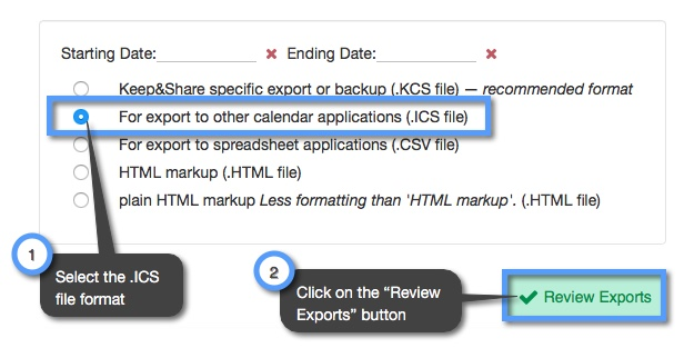 How do I export calendars from my account? | Keep&Share Support