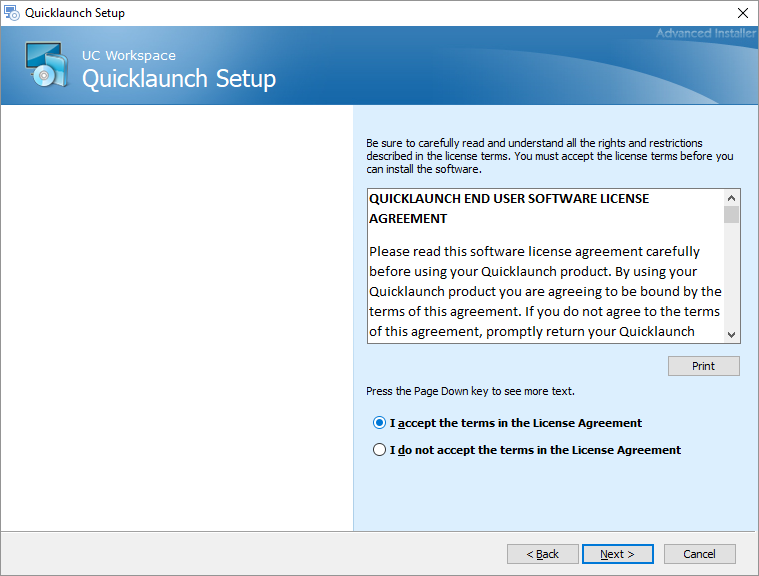 Quicklaunch V4 MSI Installer : Quicklaunch