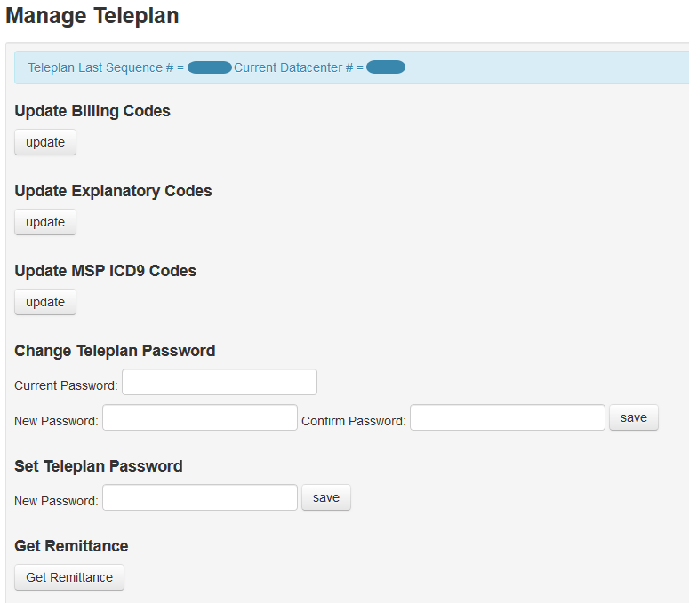 Guide to the Manage Teleplan page in OSCAR Billing : Juno