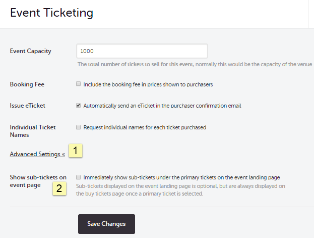Sub-Ticket Feature (Product & Up-Selling Events) : Customer