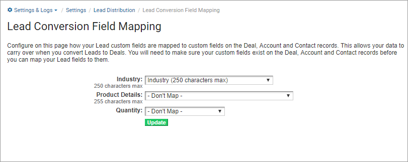 Lead Conversion Field Mapping : Support Portal & Knowledge Base