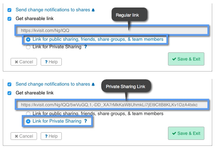 """What is the """"Private Sharing Link""""? 