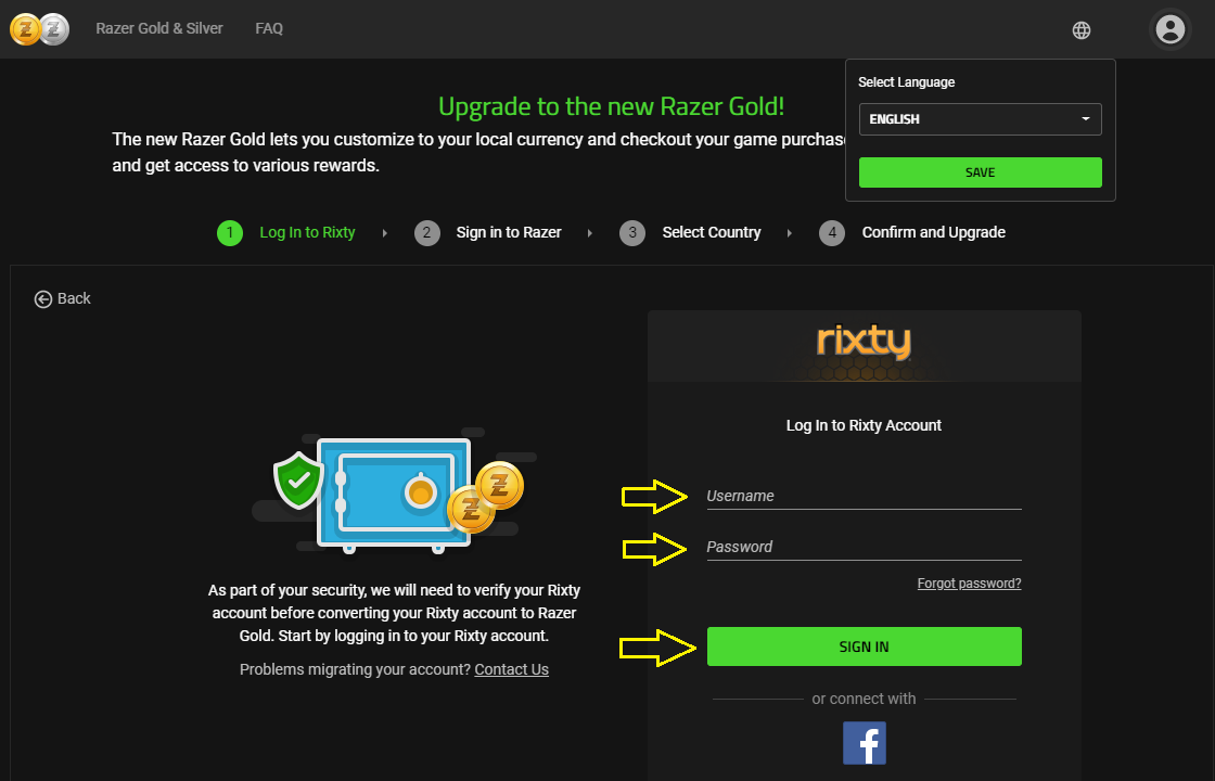 Razer Gold (Rixty Account) Reload & Upgrade Guide