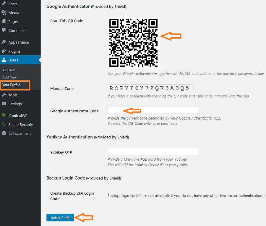 How to enable Google Authenticator for your WordPress user