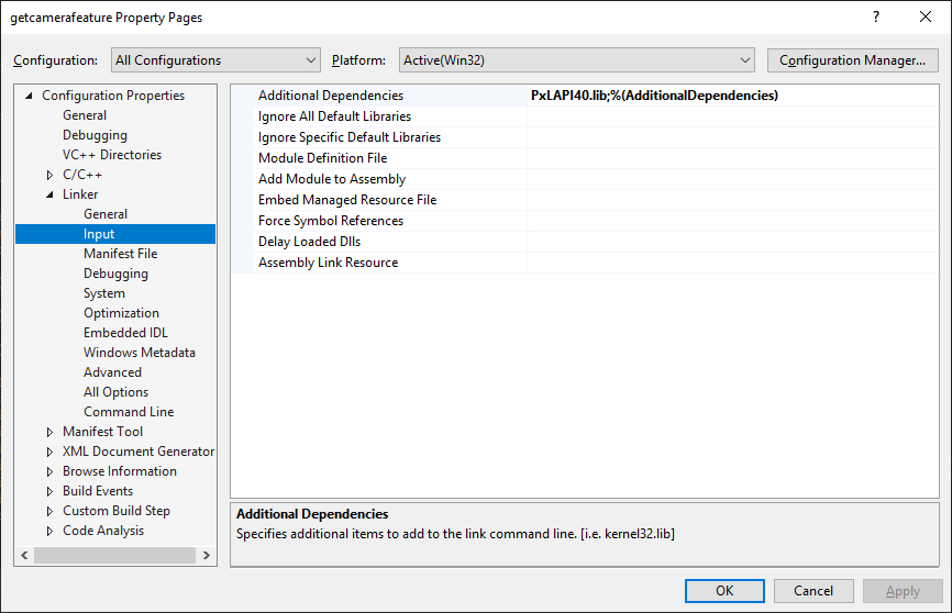 Configuring Visual Studio for C/C++ Projects : Pixelink Support