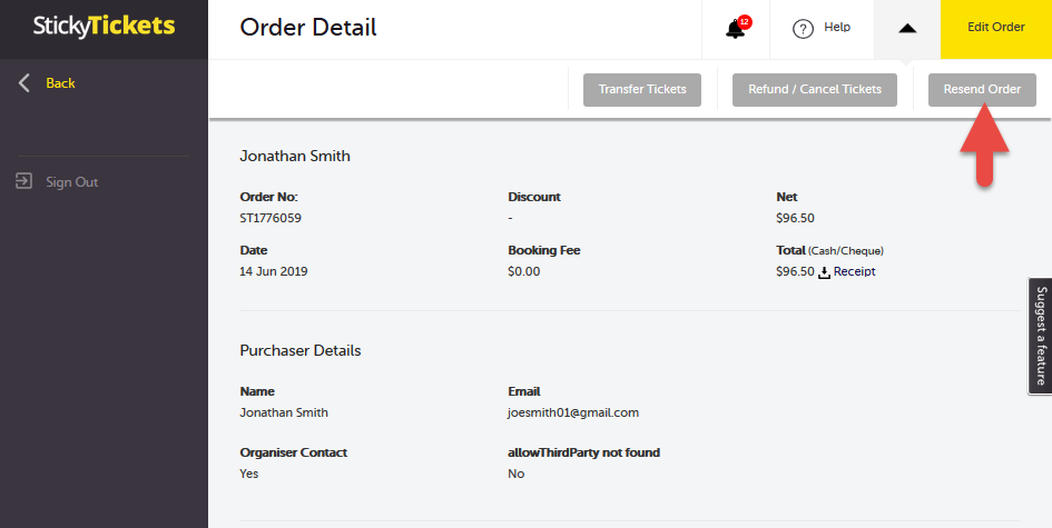 How do I resend a ticket order? : Customer Support Centre